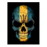 Cráneo de la bandera de Barbados en negro Postal