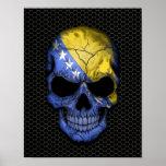 Cráneo de la bandera de Bosnia y Hercegovina en la Poster