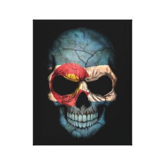 Cráneo de la bandera de Colorado en negro Lona Estirada Galerias