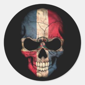 Cráneo de la bandera de la República Dominicana en Pegatina Redonda