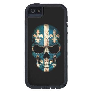 Cráneo de la bandera de Quebec en negro iPhone 5 Case-Mate Fundas