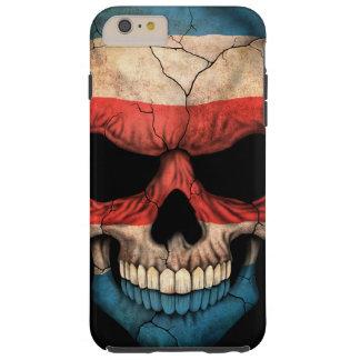 Cráneo de la bandera de Rican de la costa en negro Funda De iPhone 6 Plus Tough