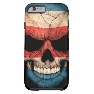 Cráneo de la bandera de Rican de la costa en negro Funda De iPhone 6 Tough