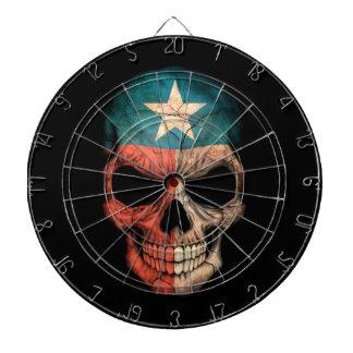 Cráneo de la bandera de Tejas en negro Tablero Dardos