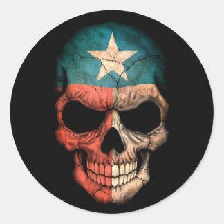 Cráneo de la bandera de Tejas en negro Pegatina Redonda