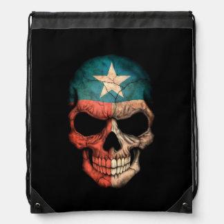 Cráneo de la bandera de Tejas en negro Mochilas