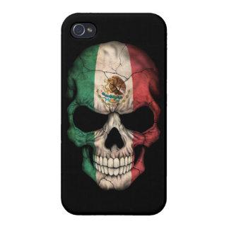 Cráneo de la bandera mexicana en negro iPhone 4 carcasas