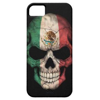 Cráneo de la bandera mexicana en negro iPhone 5 carcasa
