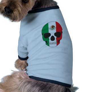 Cráneo de la bandera mexicana ropa para mascota