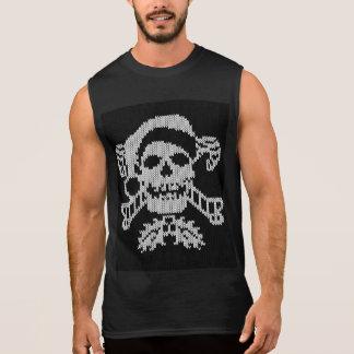 Cráneo de la bandera pirata de Santa en estilo feo Playera Sin Mangas
