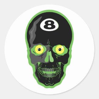 cráneo de la bola del verde 8 etiquetas redondas