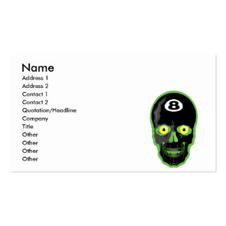 cráneo de la bola del verde 8 tarjetas de visita