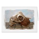 Cráneo de la cabra en mate de bambú contra la part tarjeton