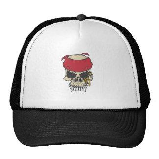 cráneo de la camiseta con el pañuelo rojo gorro de camionero