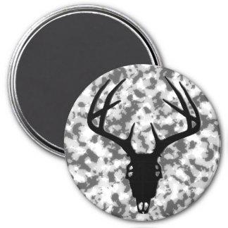 Cráneo de la caza de los ciervos con las astas imán redondo 7 cm