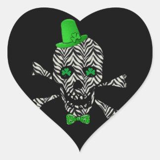 Cráneo de la cebra de St Patrick Pegatina En Forma De Corazón