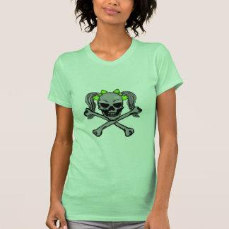 Cráneo de la cola de caballo con los arcos verdes camisetas