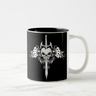 Cráneo de la espada - negro taza