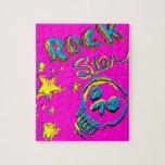 Cráneo de la estrella del rock rompecabezas con fotos