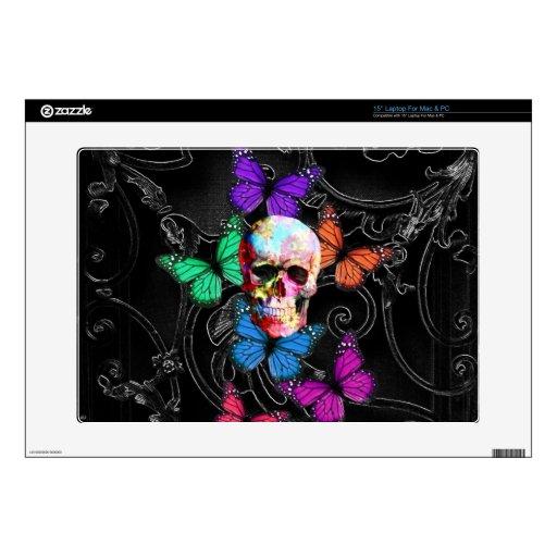 Cráneo de la fantasía y mariposas coloreadas 38,1cm portátil calcomanías