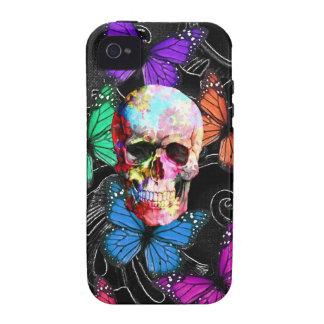 Cráneo de la fantasía y mariposas coloreadas iPhone 4 carcasa