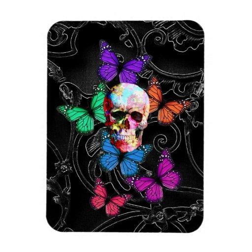 Cráneo de la fantasía y mariposas coloreadas iman rectangular