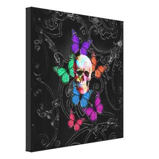 Cráneo de la fantasía y mariposas coloreadas impresión en tela