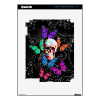 Cráneo de la fantasía y mariposas coloreadas pegatina skin para iPad 3
