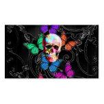 Cráneo de la fantasía y mariposas coloreadas tarjetas de visita