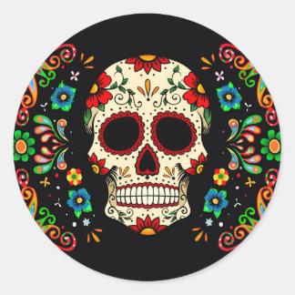 Cráneo de la fiesta pegatina redonda