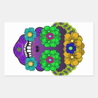 Cráneo de la flor pegatina rectangular