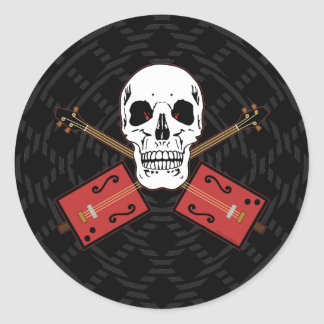 Cráneo de la guitarra de la caja de cigarros pegatinas redondas