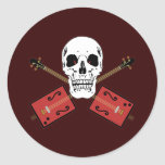 Cráneo de la guitarra de la caja de cigarros pegatina redonda