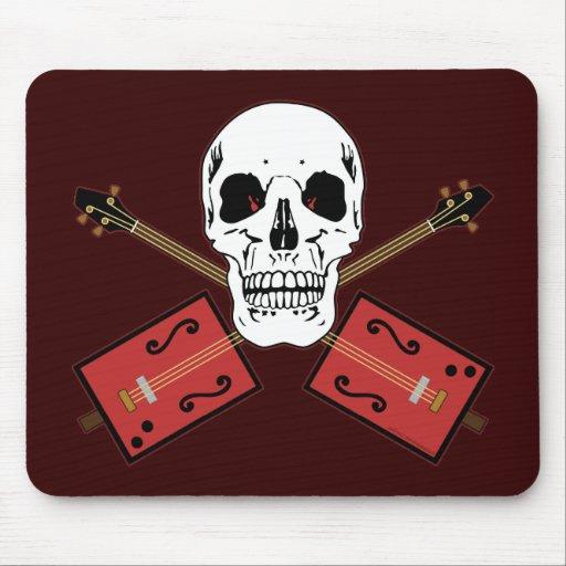 Cráneo de la guitarra de la caja de cigarros alfombrillas de raton