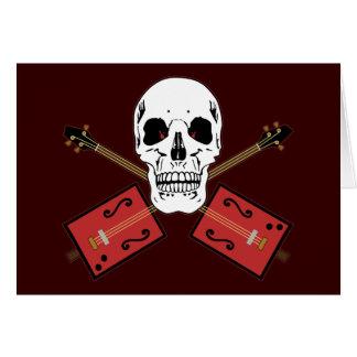 Cráneo de la guitarra de la caja de cigarros tarjeta de felicitación