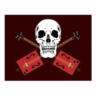 Cráneo de la guitarra de la caja de cigarros postal