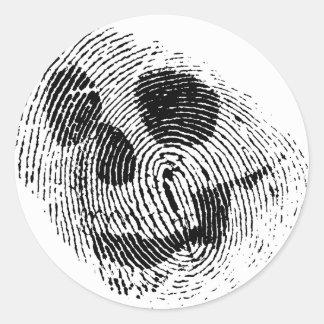 Cráneo de la huella dactilar pegatina redonda