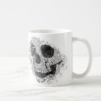 Cráneo de la huella dactilar taza de café