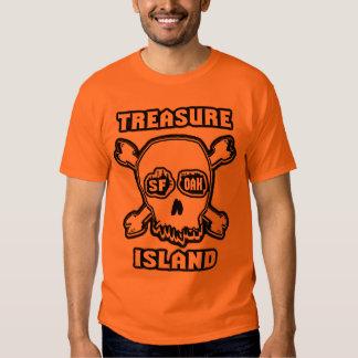 Cráneo de la luz de la isla del tesoro poleras