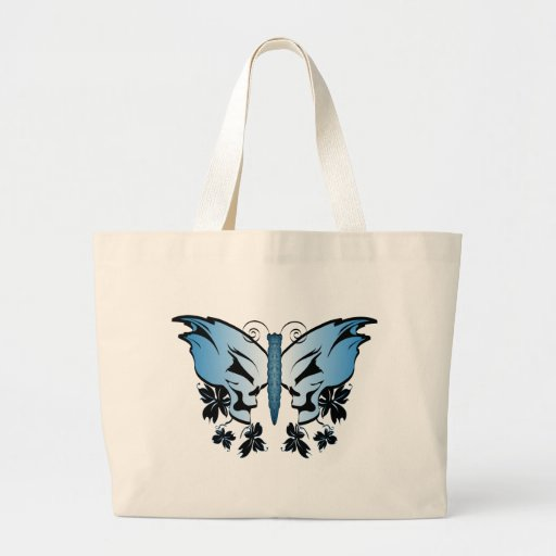Cráneo de la mariposa - azul bolsa tela grande