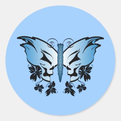 Cráneo de la mariposa - azul etiquetas