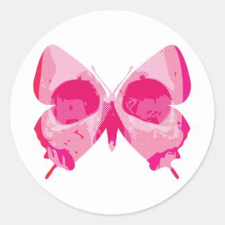 Cráneo de la mariposa pegatina redonda