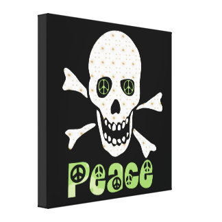 Cráneo de la paz de la flor impresión en lienzo estirada