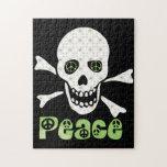Cráneo de la paz de la flor puzzle con fotos
