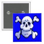 cráneo de la pintada en el botón azul del cuadrado pins
