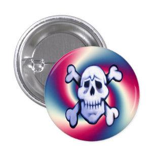 cráneo de la pintada en el botón redondo del fondo