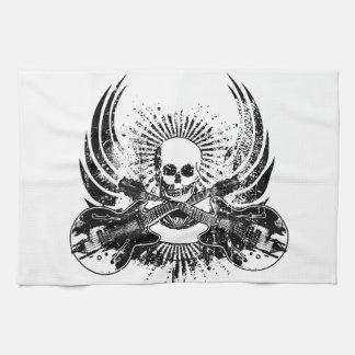 Cráneo de la roca del Grunge con las guitarras Toalla De Mano