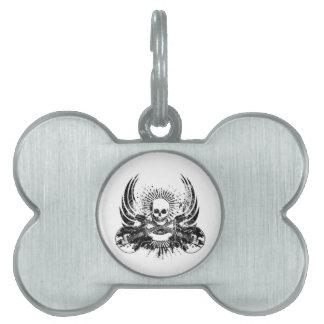 Cráneo de la roca del Grunge con las guitarras Placa De Mascota