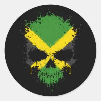 Cráneo de la salpicadura del goteo de Jamaica Pegatina Redonda