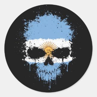 Cráneo de la salpicadura del goteo de la Argentina Pegatina Redonda